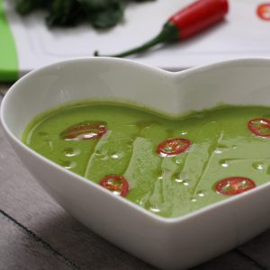 Pea, Coriander and Red Chilli Soup